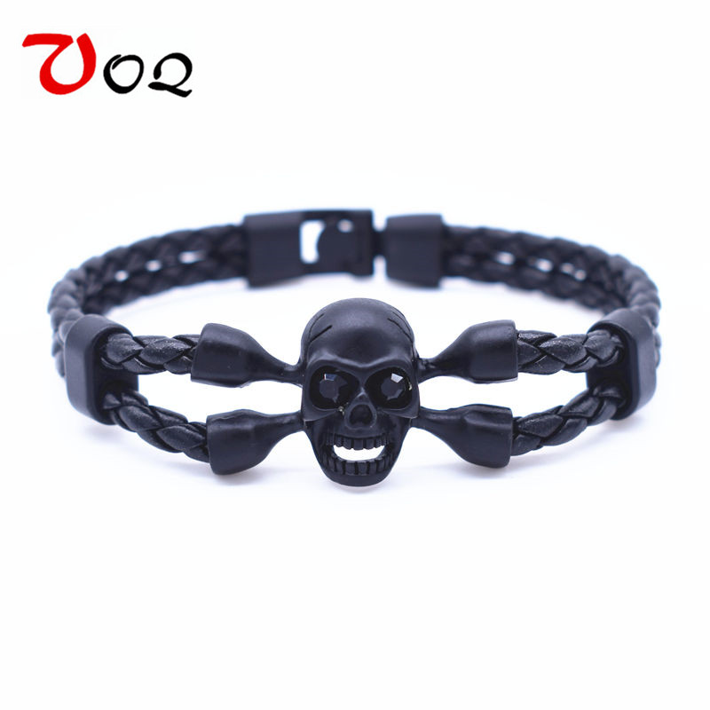 11.11 New Fashion Classic Black Skull Bracelet Men Jewelry Top Quality Popular Knighthood Charm Leather Bracelets Bangles pulser
