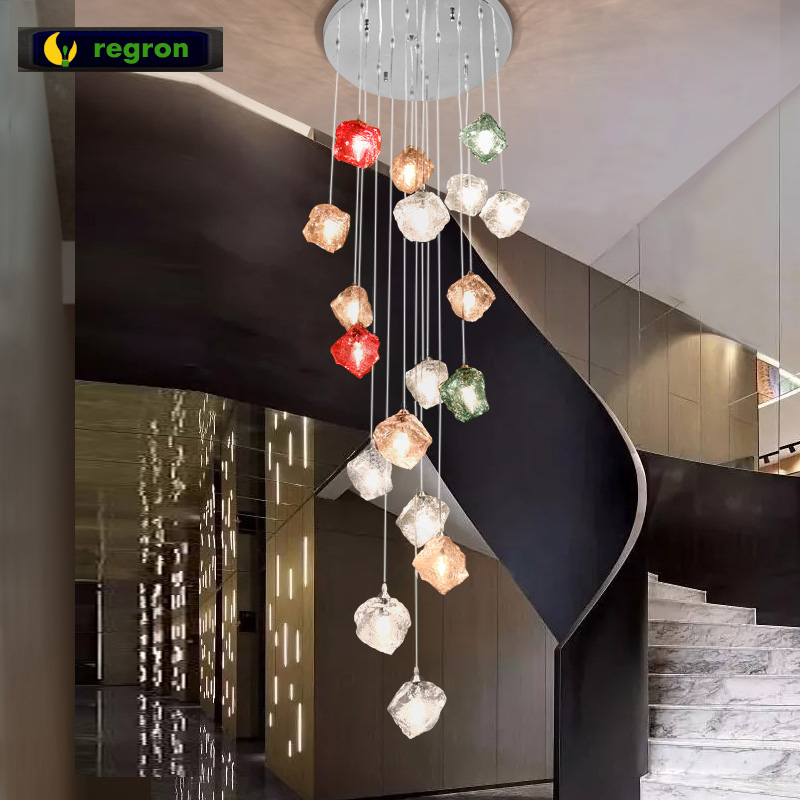 Modern Rotary Staircase Chandelier Lights Colorful Glass Lighting Villas Crystal Led Lamp Stairwell Church Long Chandeliers
