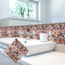 4 Sheets Peel and Stick Brick Aluminium Tiles Backsplashes 12 X Metal Mosaic Colorful Europe Fireproof Wall Sticker
