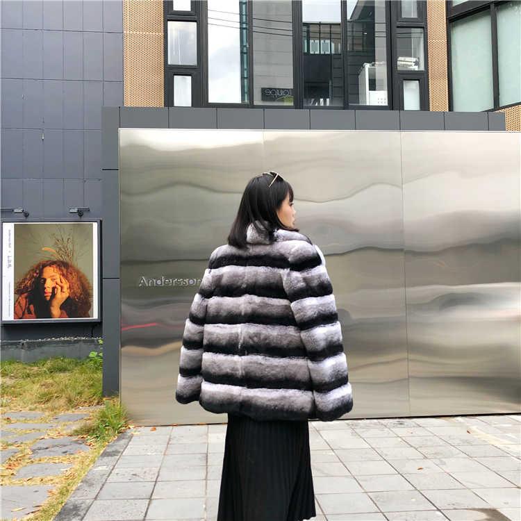 Kış Ceket Kadınlar Casual 2019 Gerçek Kürk Ceket Doğal Rex Tavşan Kürk Dış Giyim Rahat Streetwear Marka Lüks Turn Down Yaka