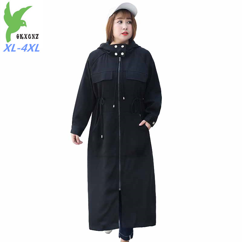 Large size Hooded   Trench   Coat Women 2019 Spring Autumn Long Windbreaker Female Fashion Casual Coat Belt Slim Zipper   Trench   G45