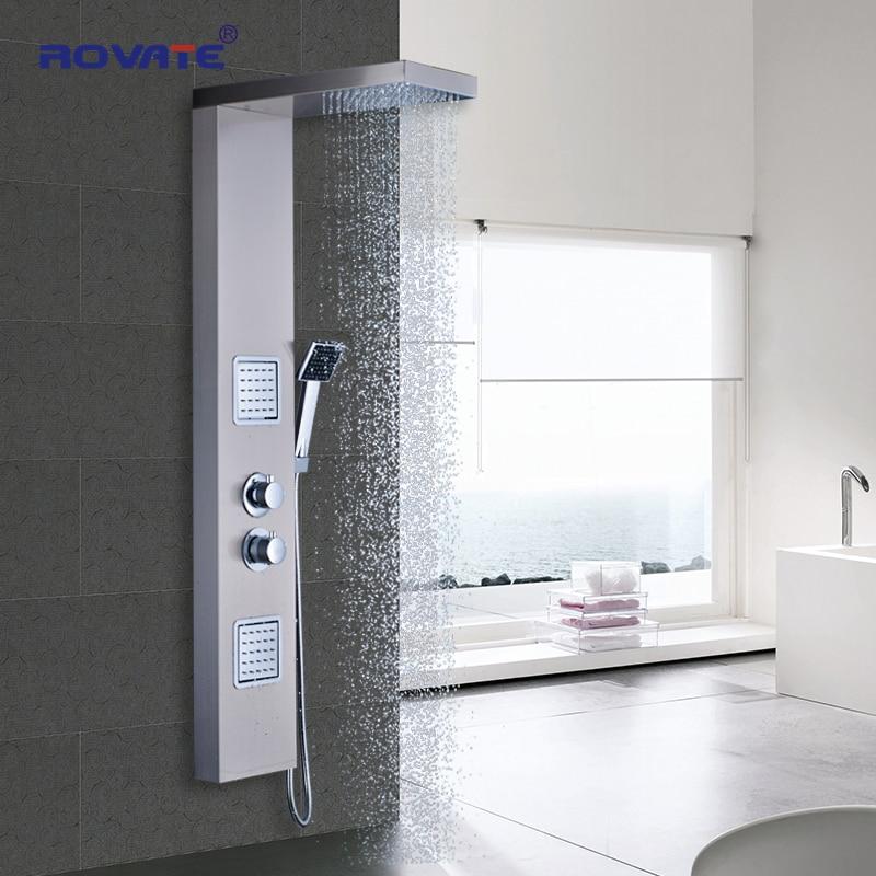 Painéis Do Chuveiro Do Banheiro ROVATE 38 °C Multi-função sensor de temperatura chuveiro, Termostática chuva chuveiro de Aço Inoxidável 304