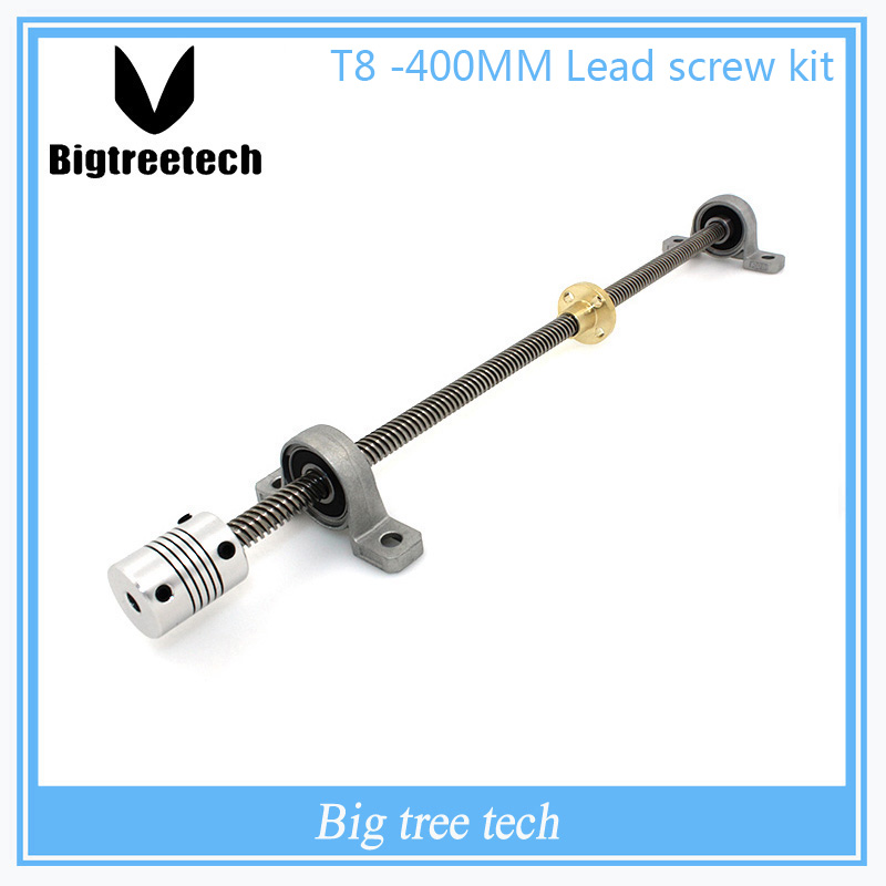 T8*8 Lead screw 400mm 8mm spacing 2mm+ brass copper nut + KP08 bearing Bracket +5*25*8mmFlexible Coupling for 3D printer&CNC