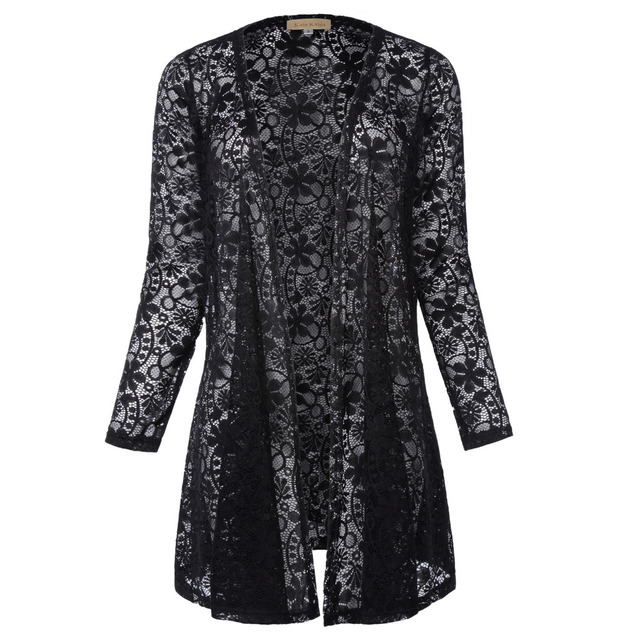 eebe5e6fc3 Sexy Kobiet Przejrzyste Koronki Bluzki Bluzki Z Długim Rękawem Otworzyć  Przednią Cardigan Płaszcz Czarny Biały Jesień