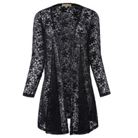 Sexy Women Transparent Lace Blouses Tops Long Sleeve Open Front Cardigan Coat Black White Autumn Female