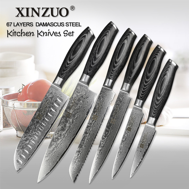 XINZUO 6 Pcs Kitchen Knives Set 67 Layers High Carbon Japanese VG10 Damascus  Steel Chef Santoku