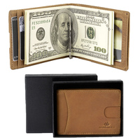 SHANSHUI 2017 New Male RFID Blocking Genuine Leather Money Clip Wallet Solid Color Thin Front Pocket