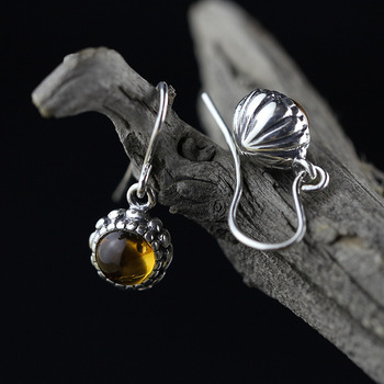 L&P Natural Amber&Topaz Handmade Earrings For Women 925 silver Drop Earrings Fine Jewelry Pendant Birthday gift