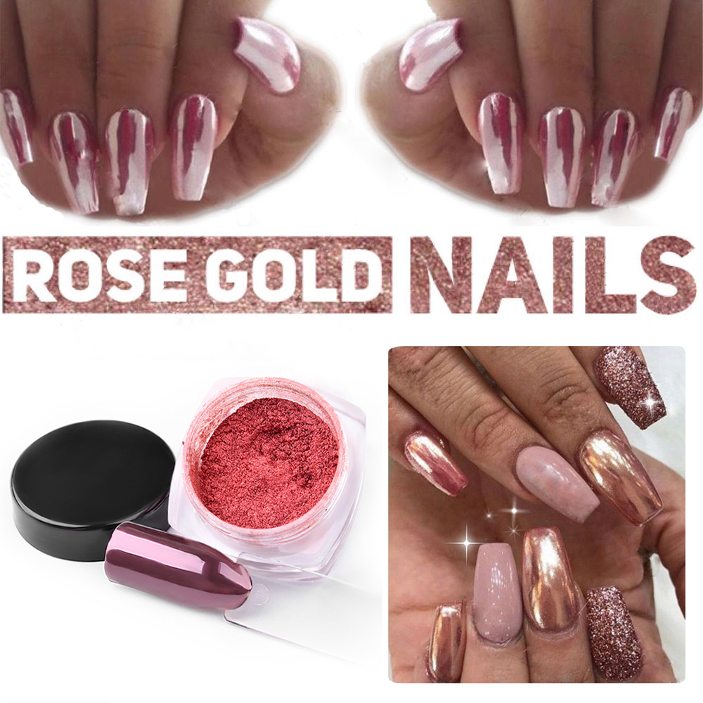 4 Colors Professional Nails Art Tools Rose Gold Color Nail Glitter ...