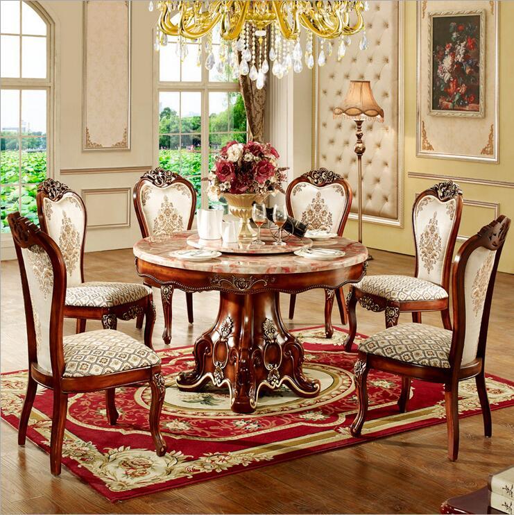 Mobilya'ten Yemek Odası Setleri'de Modern Stil İtalyan yemek masası  100% katı ahşap İtalya Tarzı Lüks yemek masası seti o1087