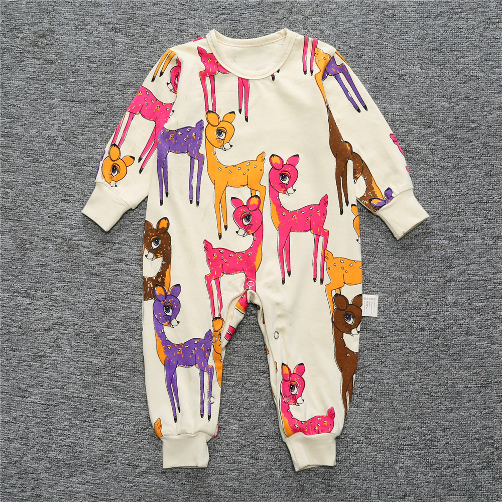 Newborn Baby Boy Rompers Autumn Kids Deer Printing Clothes Long Sleeve Baby Jumpsuits Clothing For Baby Girls cotton baby rompers set newborn clothes baby clothing boys girls cartoon jumpsuits long sleeve overalls coveralls autumn winter