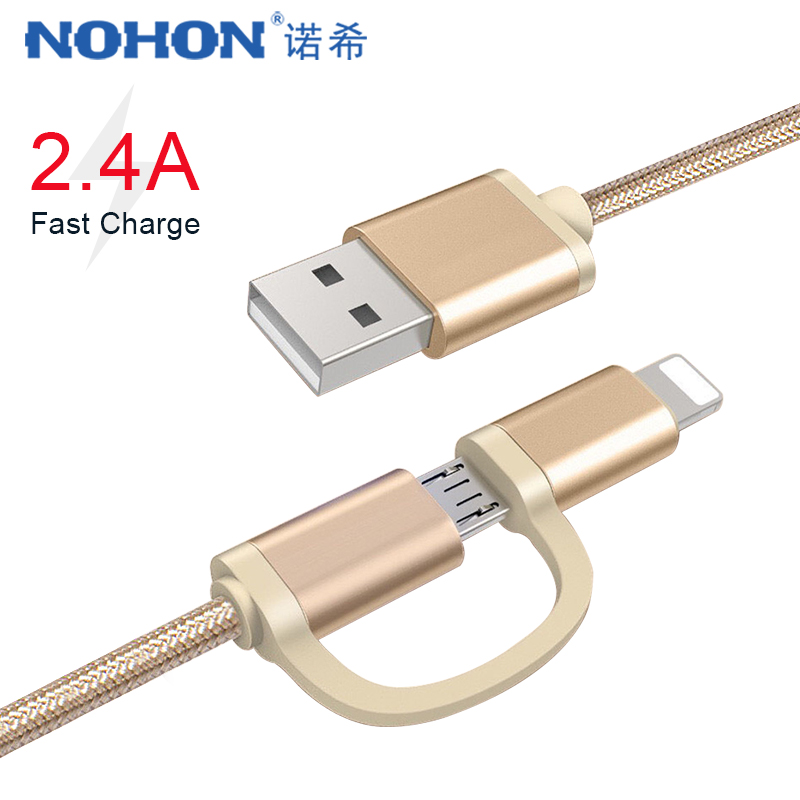 NOHON <font><b>2</b></font> in <font><b>1</b></font> Micro USB Lighting Charging Cable For iPhone 6S 7 8 Plus X XS MAX XR Fast Charger Cables For Samsung Xiaomi Huawei image