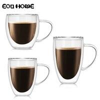 Высокое боросиликатное стекло с термоизоляцией, двойной стакан для чая, кофе, молока кружки для коктейлей изолированные прозрачное стекло ...