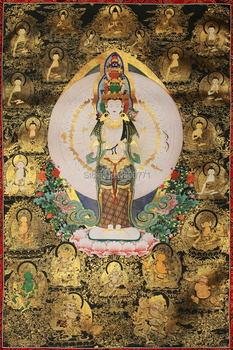 Tibetan Thangka painting imitation painted Avalokitesvara Nepal handmade Tibetan New Year paintings framed