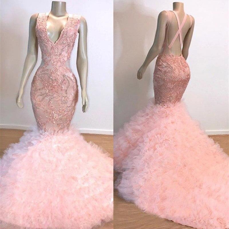 Gorgeous Pink V-Neck Prom Dresses Mermaid Backless Black Girl Party Gowns Party Dresses Evening Wear Vestido De Festa