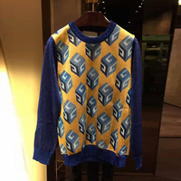 Runway Designer Womens Spring Autumn Lurex Knitted Tops Casual Wall Paper Print Contrast Color Wool Sweater