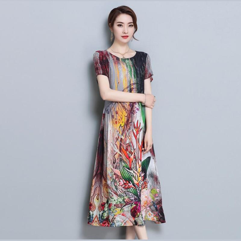 Elegant Floral Print Long Dresses Womens Short Sleeve Silk Chiffon Dress Summer Vestidos H