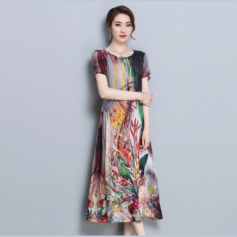 Elegant Floral Print Long Dresses Womens Short Sleeve Silk Chiffon Dress Summer Vestidos High Quality Loose O-Neck Brand Clothes