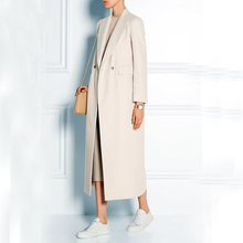 High Fashion Style Ultra Long Women Woolen Jacket Elegant Turn down Collar Extra Long Wool Jacket