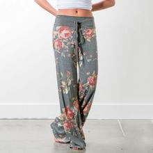 Summer Casual Pants Polyester Loose Straight  Floral Print Wide Leg Pants Pockets  Bandage Loose  flat wait Pants WHOLESALE