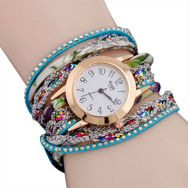 2018 Vintage Women Watches Rhinestone Stud Leather Band Bracelet Watch Analog Qu