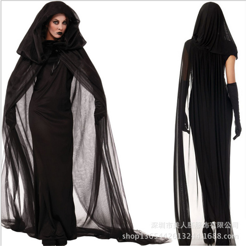 Plus size Ghost bride black dress Adult Broomstick