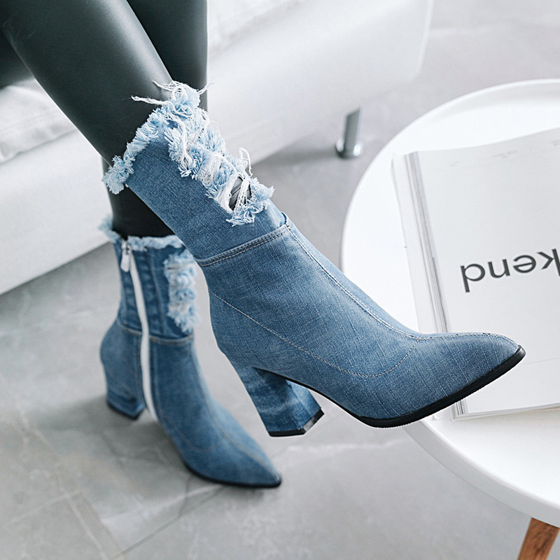 WETKISS Denim Boot Thick High Heels Women Boots Holed Ankle 2019 New Pointed Toe Lady Shoes Ripped Spring Footwear Casual HeelsWETKISS Denim Boot Thick High Heels Women Boots Holed Ankle 2019 New Pointed Toe Lady Shoes Ripped Spring Footwear Casual Heels