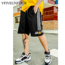 VFIVEUNFOUR Side Printed Stripe 2019 Summer Fashion Men's Hip Hop Shorts Elastic Waist Shorts Knee Length Shorts streetwear
