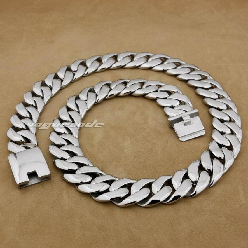 LINSION 18 ~ 36 Huge & Heavy 316L Stainless Steel Mens Biker Rocker Punk Necklace 5C005N linsion 18 36 huge