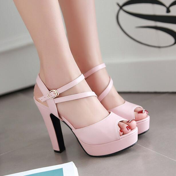 ФОТО 2017 Newest Arrival Summer Sandals Thick High Heels Peep Toe Black&White&Pink&Blue Leather Sexy Graceful Women Elegant Sandals