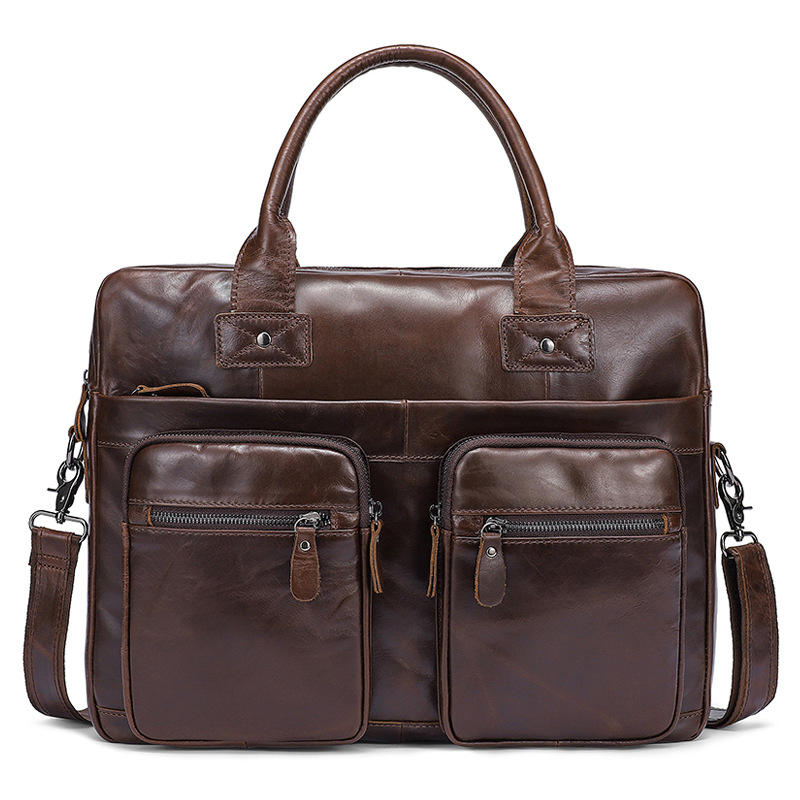 2018 new luxury briefcase High Quality Oil wax cowhide men business briefcase genuine leather laptop office bag Cross section men fashion oil wax leather briefcase cowhide handbag business men leather messenger cross bag genuine leather 14 laptop bag