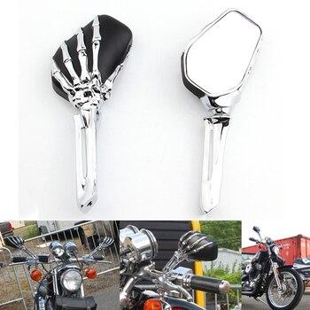 Pair Skull Skeleton Hand Motorcycle Rearview Side Mirrors For Honda Kawasaki Suzuki Yamaha Harley Cruiser Softail Sportster