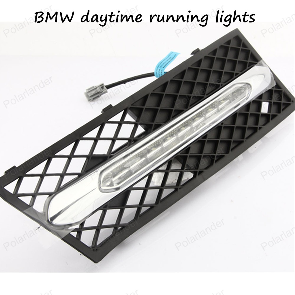 ФОТО 2PCS Car Auto Waterproof LED DRL Daytime Running Light front bumper grille grill Cover For BMW 5 Series 11-13