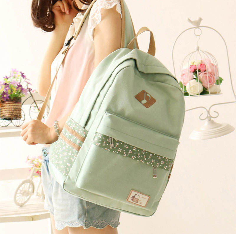 2017 Fashion YuFan Cute Fresh Preppy Style Soft Canvas Polyester Women School Student Backpack with Computer