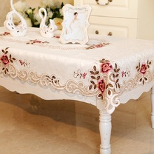 European Countryside Embroidery tablecloth Fabric art Tea table cloth Waterproof Oilproof  Lace Tablecloth Dining Table Cover