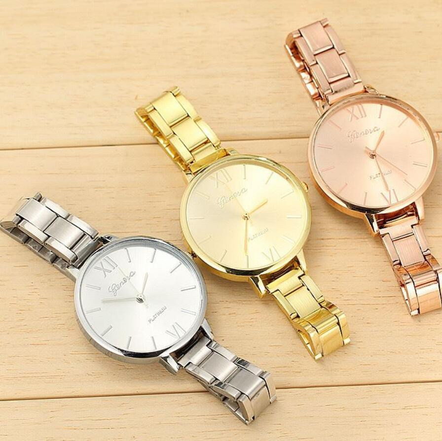 New Brand Women Wristwatch Female Thin Strap Big Dial Watches Lady Gold Plated Stainless Steel Watch