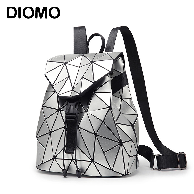 DIOMO 2018 Irregular Geometric Triangle Sequin Backpack Women Bagpack Fashion Female Backpacks for Girls rugzak back pack geometric pattern irregular front fly cardigan