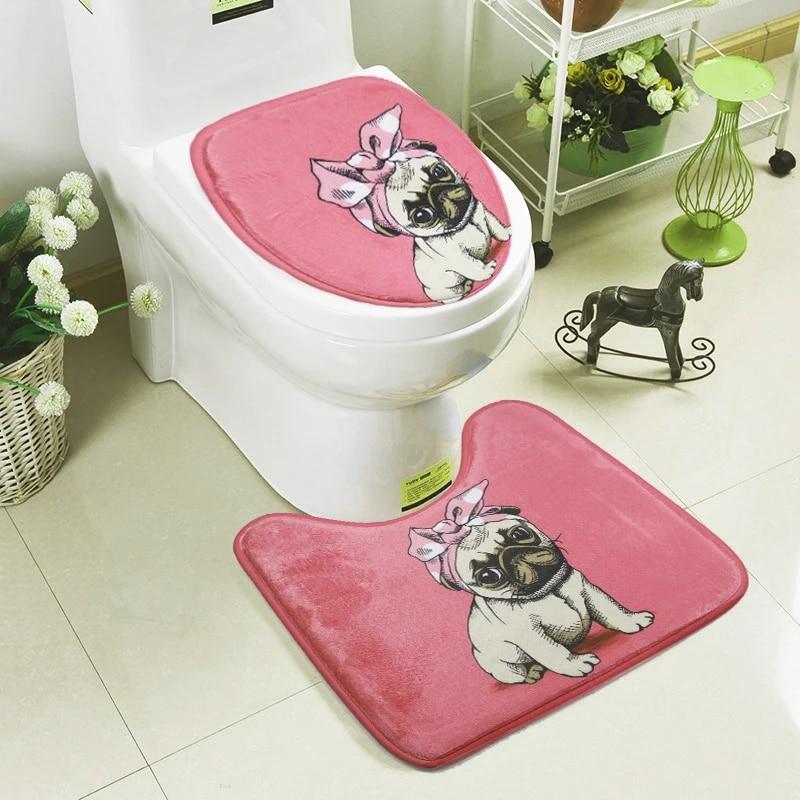 ensemble de tapis de bain en forme de u 2 pieces pour toilette wc antiderapant simple mignon chien