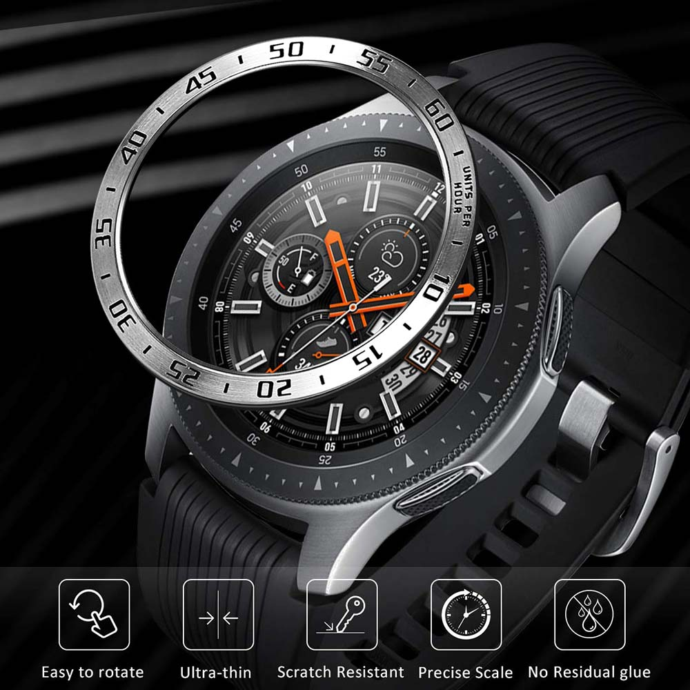 Stainless Steel Bezel Ring For Samsung Galaxy Watch 46mm / Gear S3 Classic Frontier Anti Scratch Protection Case Adhesive Cover