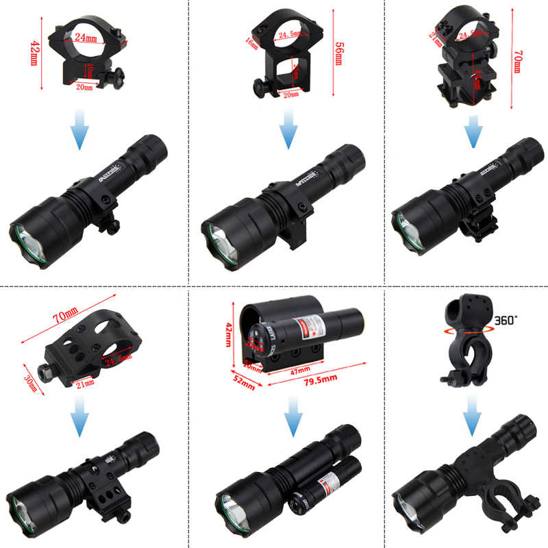 XM-L Q5 LED טקטי אקדח אור ירוק ציד פנס + רכבת רובה היקף הר/נקודה אדומה לייזר + לחץ מתג + 18650 + USB מטען