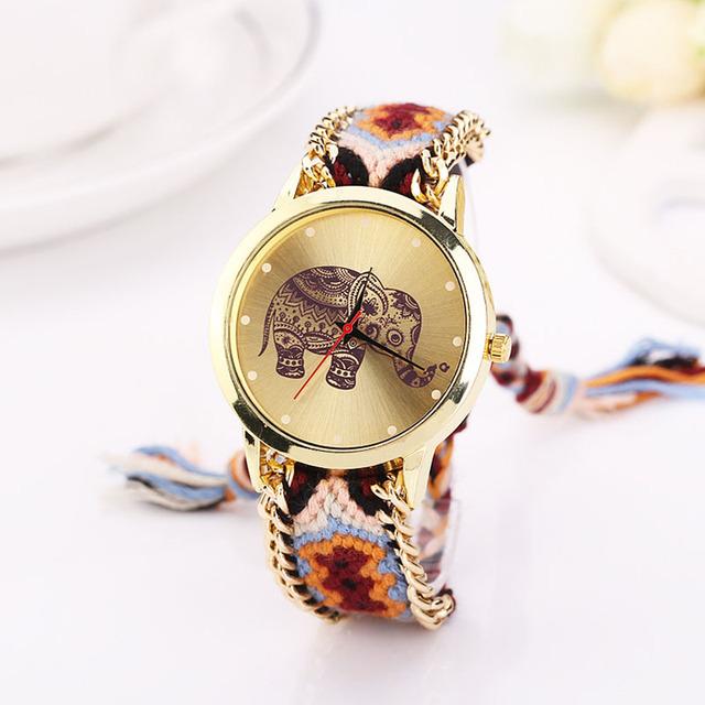 Zegarek ze słoniem pleciona bransoleta