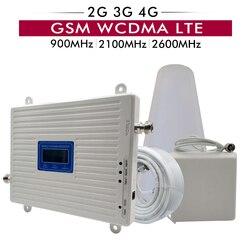 Tri Band Telefono Cellulare Ripetitore di Segnale 2G 3G GSM 900 + 3G UMTS WCDMA 2100 + 4G FDD LTE 2600 Mobile Del Segnale Del Ripetitore Amplificatore Antenna Set