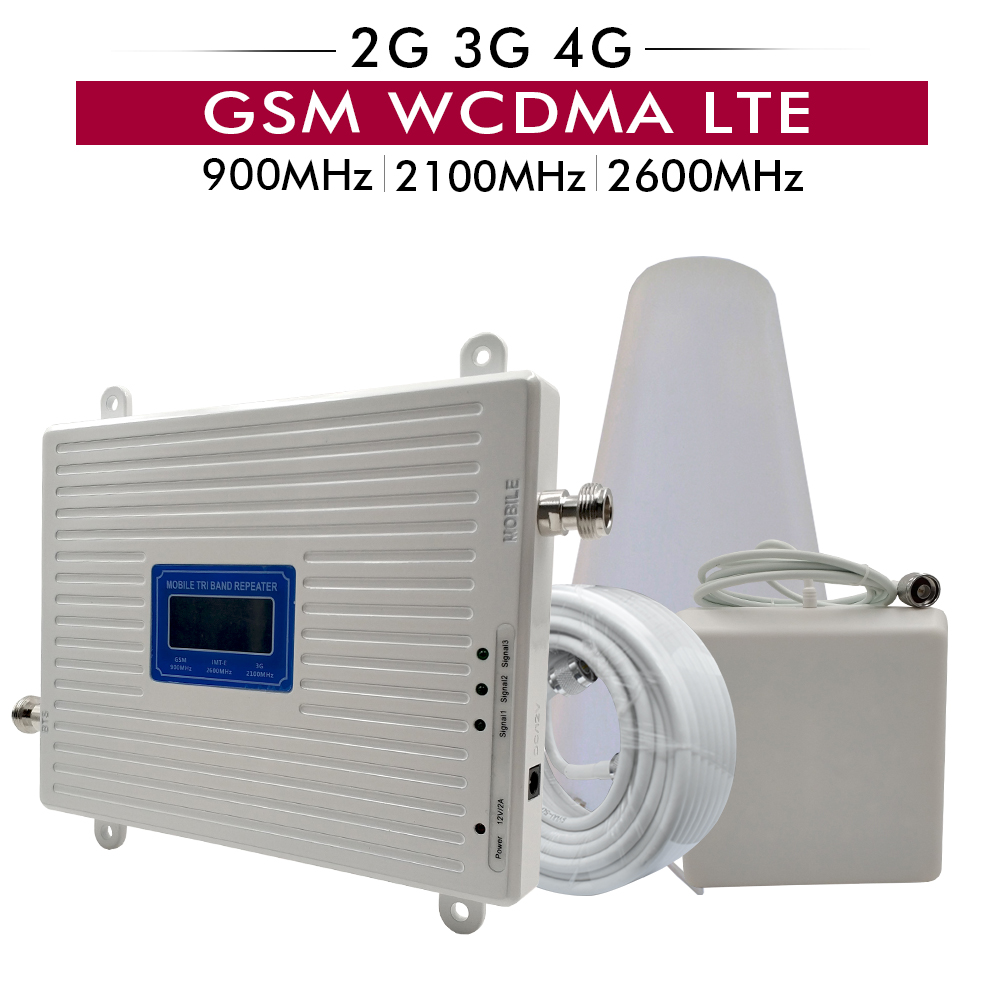 Tri Bande téléphone portable répéteur de signal 2G 3G GSM 900 + 3G UMTS WCDMA 2100 + 4G FDD LTE 2600 Mobile Signal Booster Amplificateur Antenne Ensemble