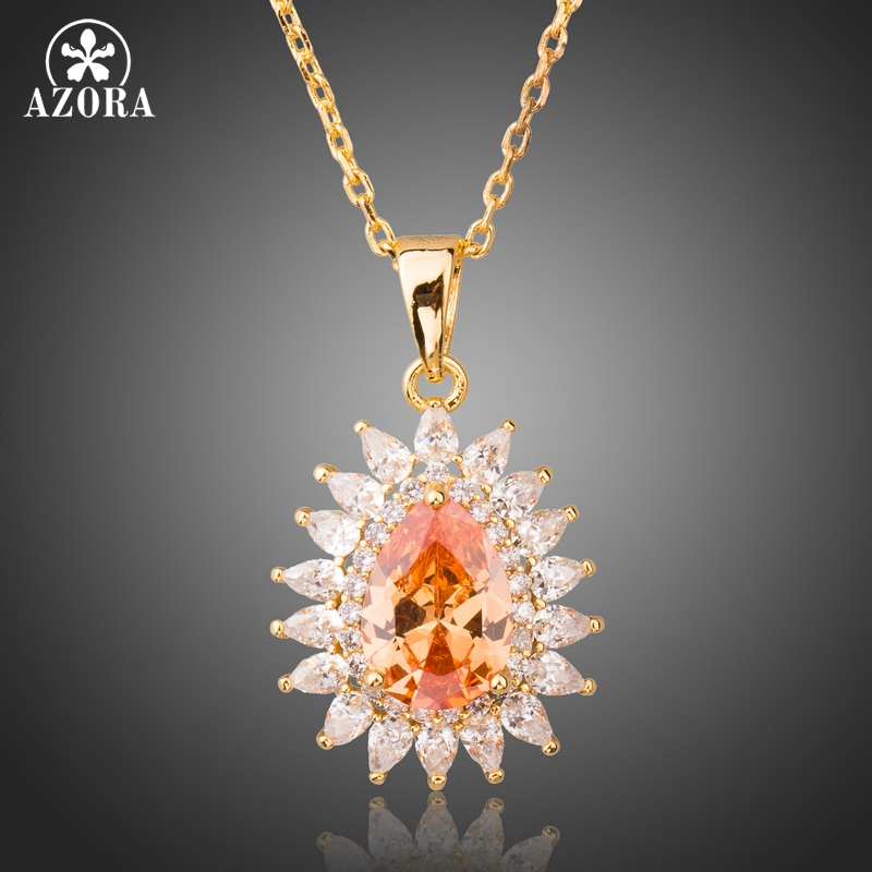 AZORA Trendy Champagne Cubic Zirconia Sunflower Pendant Necklace Cute Gold Color Necklaces Women Fashion Jewelry TN0227 stylish sunflower round pendant necklace for women
