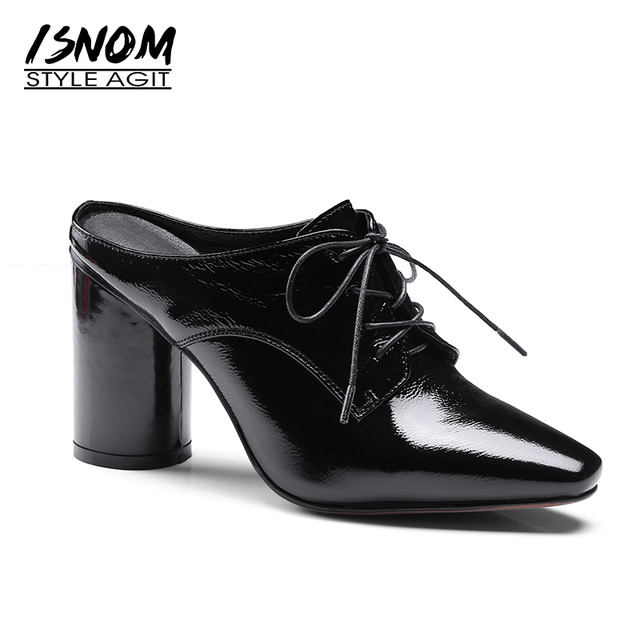 68d71b83173 ISNOM 2019 Heel Women Shoes Mules Patent Cow Leather Shoes Woman Lace up  Thick High Heeled Slingback Pumps Vintage Footwear Lady
