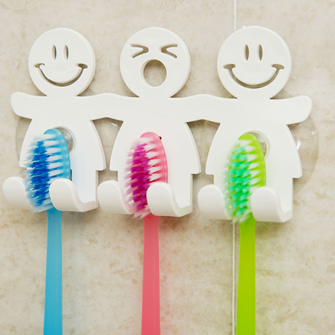 Hot Hot!1pcs Suction Hooks 5 Position Tooth Brush Holder Bathroom Sets Cute Smile Cartoon Sucker Toothbrush Holder