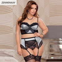 Female Erotic Costumes Underwear Women Sex Wear Women Sexy Lingerie Set Plus Size With Garter Thong