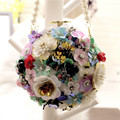 Handmade 2017 Women's Fashion Flower Rhinestone Bag Female Dinner Messenger Bags Barrel-shaped Diamond Handbags