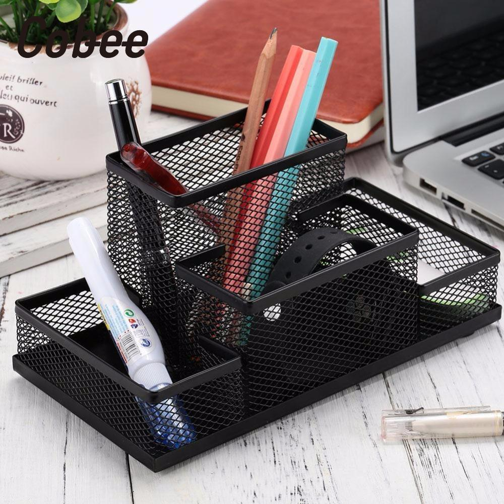 Cobee Desktop Storage Box Storage Mesh Stationary Organizer Box Mesh Metal Multifunction  Useful Stationery Storage Box