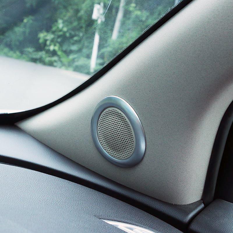 beler 2pcs Car Red Inner Front Door Stereo Speaker Trim Ring